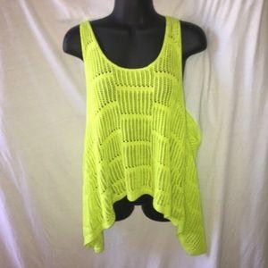 Bisou Bisou Tops - CLEARANCE Crochet open back lime green tank