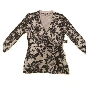 Banana Republic Floral Print Wrap Sweater