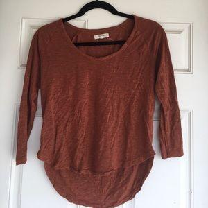 Madewell burnt orange 3/4 length sleeve