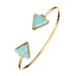 Boho Gold Turquoise Marble Arrow Open Cuff Bangle