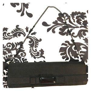 Women's Black satin evening clutch handbag purse