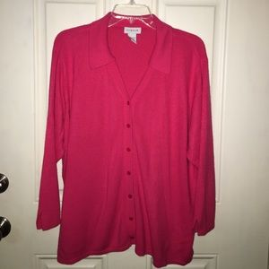 Avenue 22/24 Pink 3/4 Sleeve Cardigan Sweater