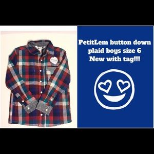 Petit Lem Other - SALE 🔥NWT PL Kids size 6 plaid shirt