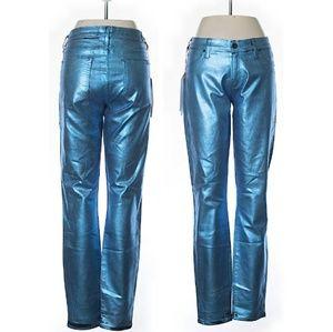 Designer Blue Metallic Skinny Jeans
