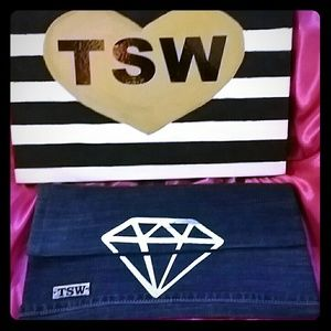 TSW COUTURE Handbags - TSW GOLD FOIL DIAMOND handmade denim clutch
