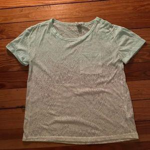 Hollister Tops - Ombré teal patterned t-shirt
