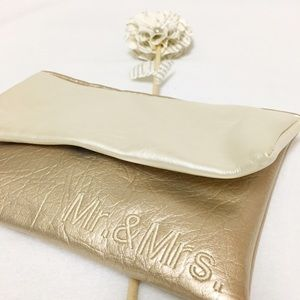 "Gold and Cream ""Mr. & Mrs."" Clutch"