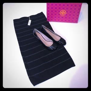 XS Max Studio Black & Gray Stripe Pencil Skirt NWT