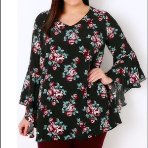 Yours Clothing Tops - Black & Multi Floral Print Blouse
