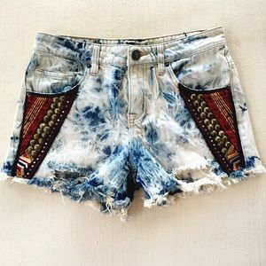 Urban Outfitters Pants - BDG Embroidered Tie Dye Jean Shorts