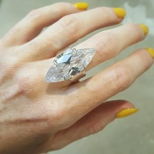 Jewelry - Huge Genuine White Topaz and Sterling Silver Ring