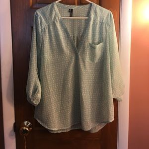 Maurice's blouse. Size large. Baby blue/turquoise