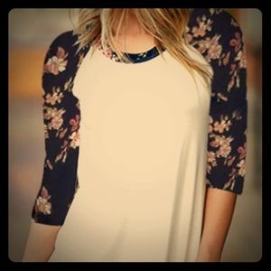 Tops - NWT: M & L. Cute Floral Sleeves Baseball Jersey.