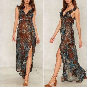 Nasty Gal Dresses & Skirts - Renamed Multicolored Floral Print Maxi Dress NWT S