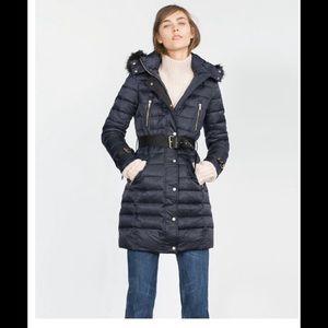 Zara Jackets & Blazers - Zara Long Quilted coat with detachable hood XL