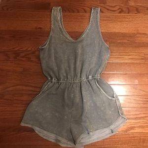 Pants - Acid wash olive romper with pockets