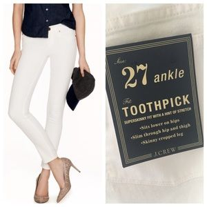 J.Crew Toothpick jean in white