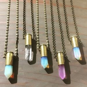 Bullet Quartz Crystal Bronze Necklace Jewelry