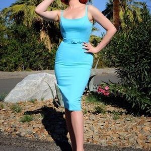 XL Pin up Girl Clothing Blue Jayne Dress.