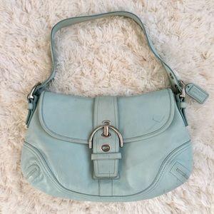 COACH | Blue Soho Leather Flap Shoulder Handbag