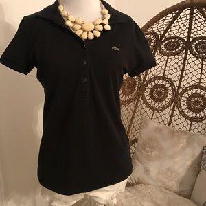 Lacoste Tops - Women's Black Lacoste Polo Shirt