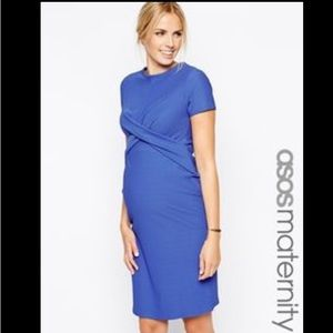 ASOS Maternity Dresses & Skirts - NWT ASOS Maternity blue textured cross front dress