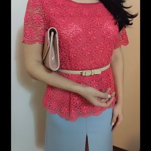 Pink/coral lace top