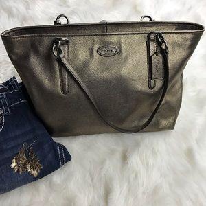 COACH leather zip top  bronze  tote