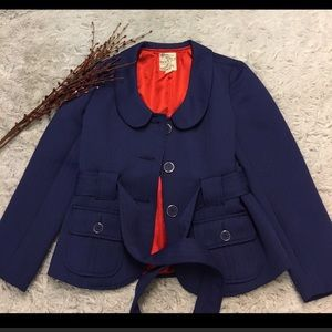 Tulle Jackets & Blazers - Beautiful Navy and Red Lined Jacket