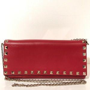 Valentino Handbags - Valentino Rockstud Wallet on Chain Red