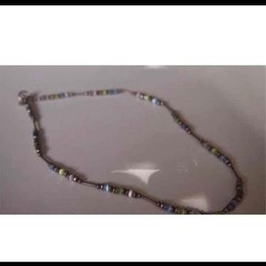 Pastel beads and Sterling vintage necklace