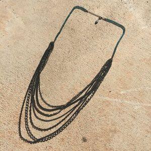 Silver Chain necklace Statement jewelry goth black