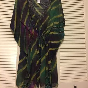 Mark NWT Sheer Swimsuit Coverup Tunic Blouse