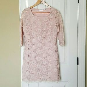 New York & Company Dresses & Skirts - Blush Pink Lace Shift Dress with sleeves