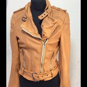Muubaa Jackets & Blazers - Muubaa tan leather Moto belted jacket Sz 6
