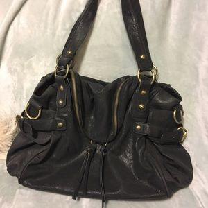 Nila Anthony Handbags - Black and gold faux leather shoulder bag