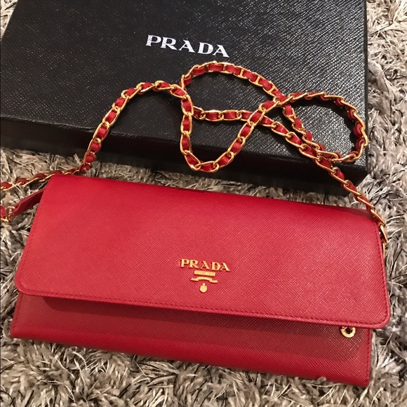 dcf7cac9ffc7 new zealand prada saffiano leather wallet on chain red fuoco 30d0e 9449d