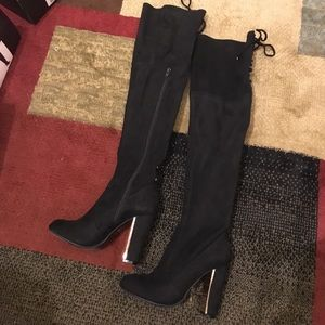 Shoes - Brand new knee high black suede boots