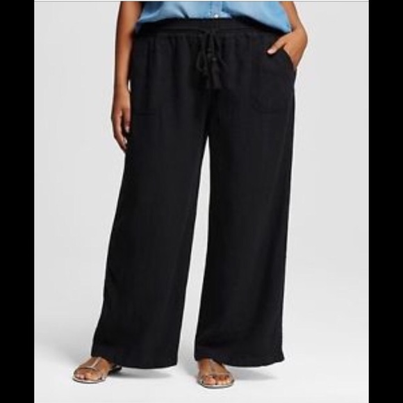 daa0c9da1bc Ava   Viv Women s Plus Size Black Linen Pants