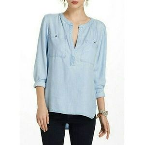 Anthro Cloth & Stone Chambray Bess Top Small