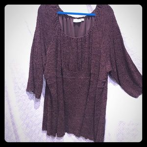 Avenue Tops - Plus size 30/32 Avenue Brown top 3/4 sleeve top
