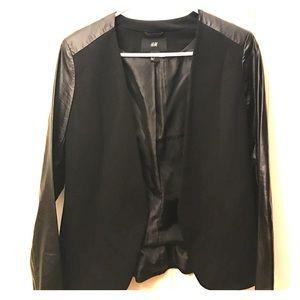 H&M Black Leather Sleeves Blazer