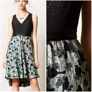 Anthropologie Merle Dress bird print Black Halo 14