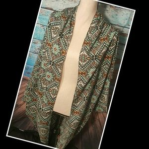Tops - Aztec Print Open Front Cardigan/Kimono