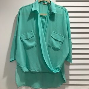 Nordstrom Tops - Tobi Aqua Crossover Going Out Top