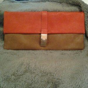 Urban Expressions Handbags - Urban Expressions Orange and Mocha Clutch