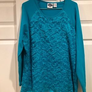Diane Gilman Tops - Diana Gilman Turquoise Lace Top