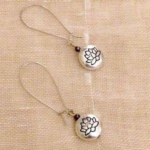 Lotus dangle earrings boho silver-tone
