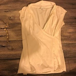 Small CAbi white wrap blouse