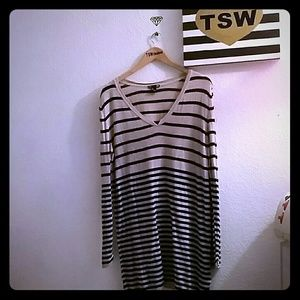 H&M Sweaters - H & M  basics sweater beige & black stripes
